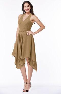 0968e509b6b1 ColsBM Delaney Indian Tan Cute A-line Sleeveless Zip up Chiffon Tea Length  Plus Size