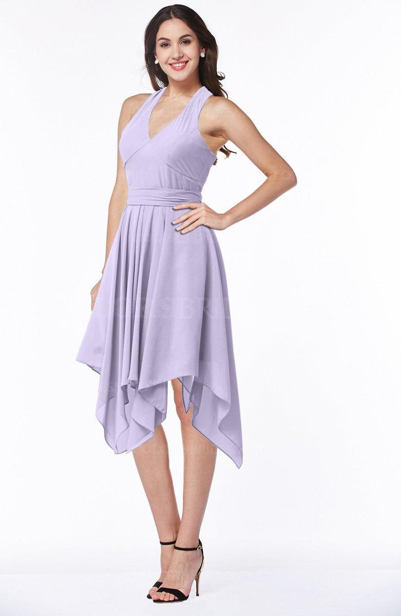 fe03fee4bfac ColsBM Delaney Pastel Lilac Cute A-line Sleeveless Zip up Chiffon Tea Length  Plus Size