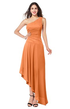 ColsBM Angela Mango Simple A-line One Shoulder Half Backless Ruching Plus Size Bridesmaid Dresses