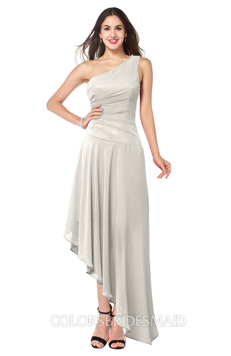 Off white simple a line one shoulder half backless ruching plus simple a line one shoulder half backless ruching plus size bridesmaid dresses ombrellifo Choice Image