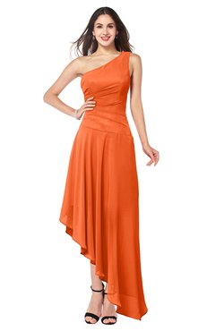 ColsBM Angela Tangerine Simple A-line One Shoulder Half Backless Ruching Plus Size Bridesmaid Dresses