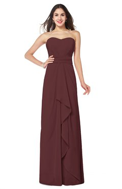 ColsBM Angelina Burgundy Cute A-line Sleeveless Zip up Chiffon Sash Plus Size Bridesmaid Dresses