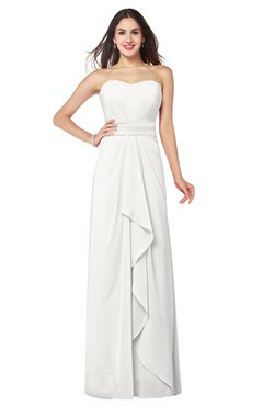ColsBM Angelina Cloud White Cute A-line Sleeveless Zip up Chiffon Sash Plus Size Bridesmaid Dresses