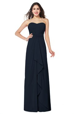 ColsBM Angelina Navy Blue Cute A-line Sleeveless Zip up Chiffon Sash Plus Size Bridesmaid Dresses