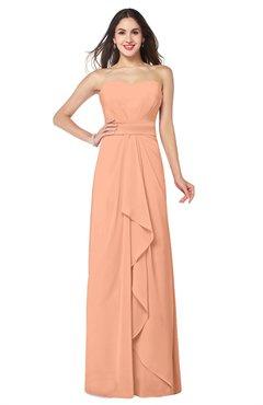 ColsBM Angelina Salmon Cute A-line Sleeveless Zip up Chiffon Sash Plus Size Bridesmaid Dresses