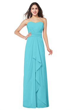 ColsBM Angelina Turquoise Cute A-line Sleeveless Zip up Chiffon Sash Plus Size Bridesmaid Dresses