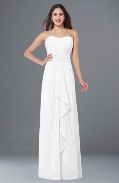 ColsBM Angelina White Cute A-line Sleeveless Zip up Chiffon Sash Plus Size Bridesmaid Dresses