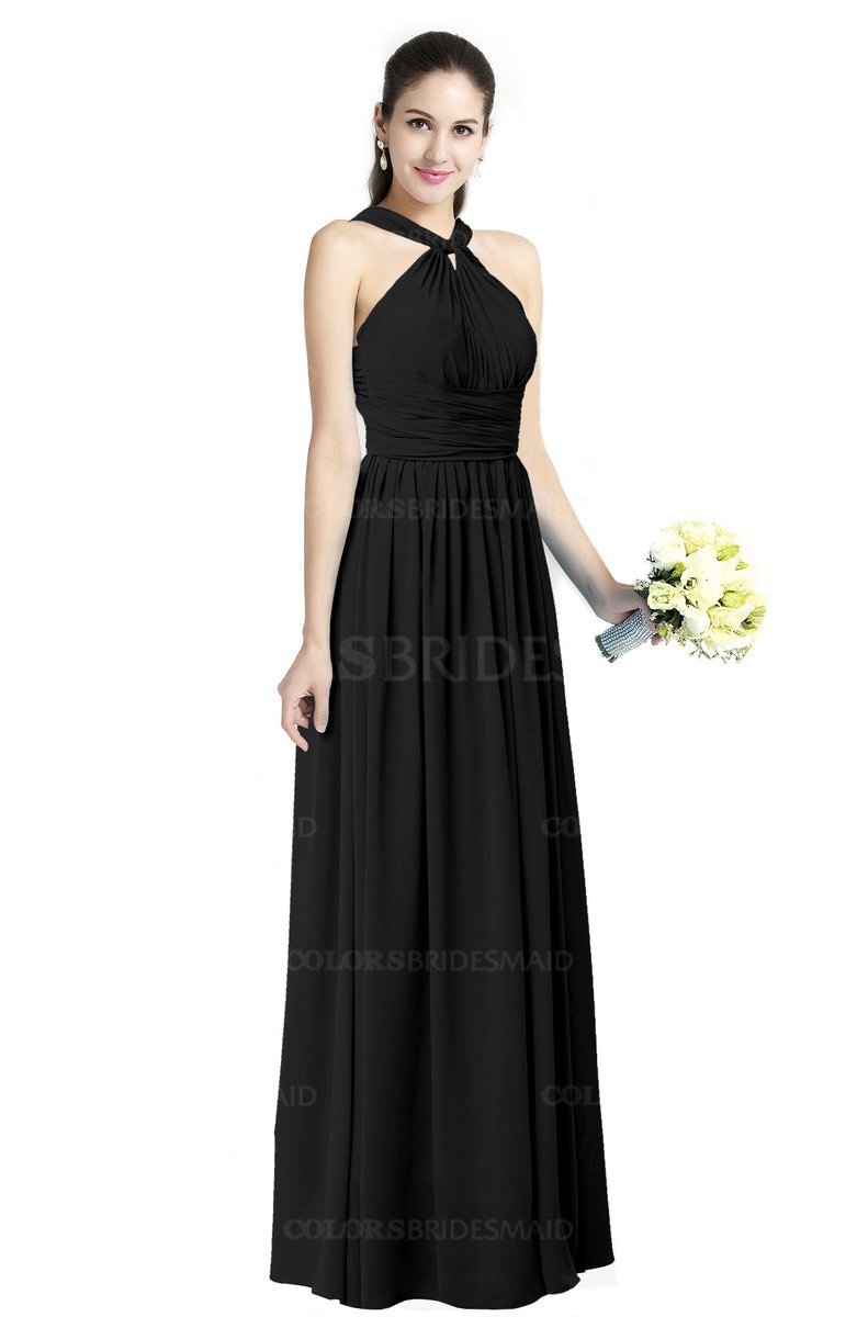 99922a3b48 ColsBM Willa Black Simple Halter Criss-cross Straps Chiffon Floor Length Plus  Size Bridesmaid Dresses