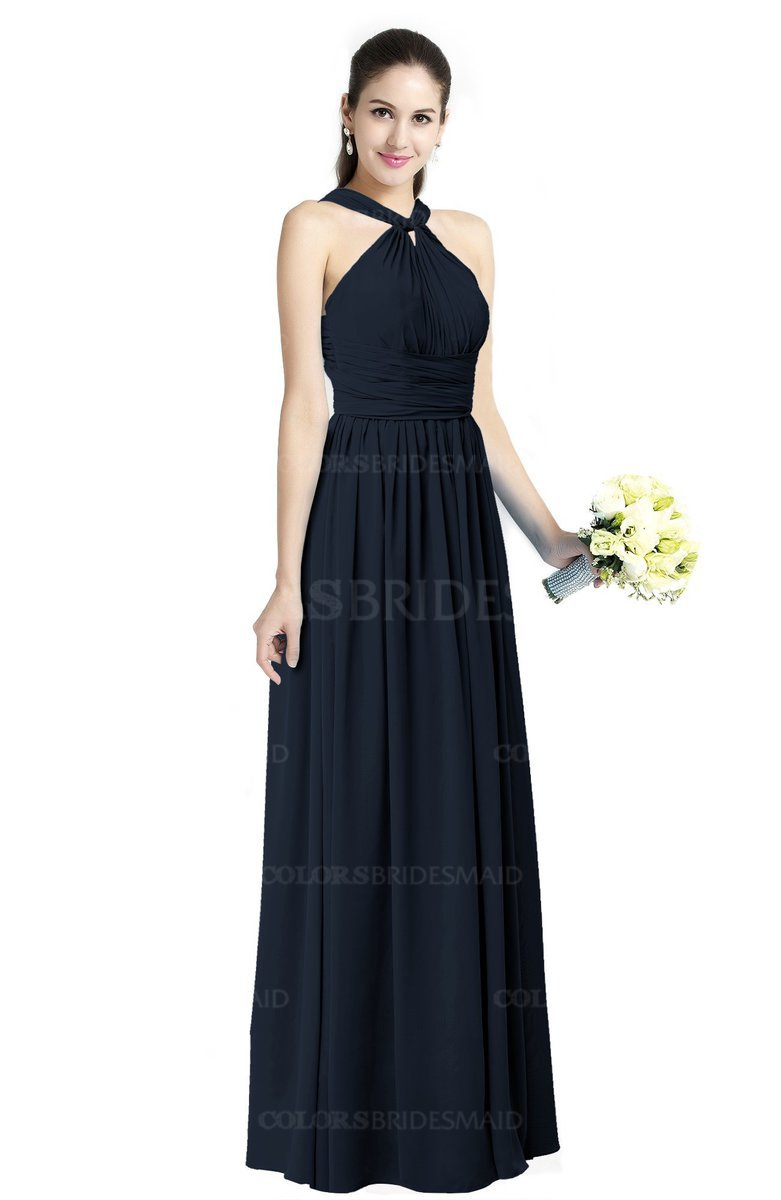 Navy blue simple halter criss cross straps chiffon floor for Plus size blue wedding dresses
