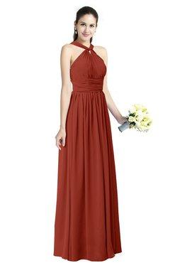 88d0f38d50e ColsBM Willa Rust Simple Halter Criss-cross Straps Chiffon Floor Length  Plus Size Bridesmaid Dresses