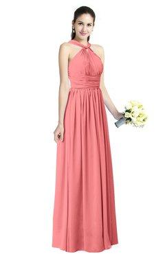 b6ca3446d8 ColsBM Willa Shell Pink Simple Halter Criss-cross Straps Chiffon Floor  Length Plus Size Bridesmaid