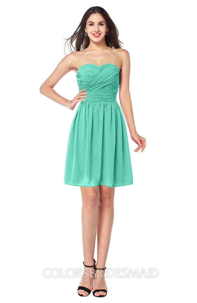 39a4c6021d9 ColsBM Gabriela Seafoam Green Sexy Sweetheart Sleeveless Short Ribbon Plus  Size Bridesmaid Dresses