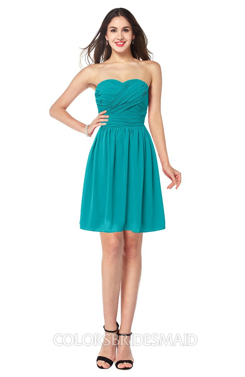 8ed40e8650a ColsBM Gabriela Teal Sexy Sweetheart Sleeveless Short Ribbon Plus Size  Bridesmaid Dresses