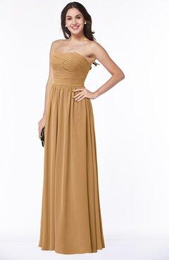 ColsBM Summer Doe Simple Strapless Sleeveless Zipper Floor Length Ruching Plus Size Bridesmaid Dresses