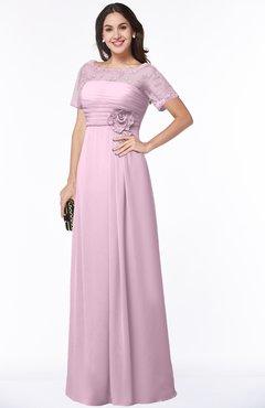 ColsBM Amanda Baby Pink Traditional Short Sleeve Zip up Chiffon Floor Length Flower Bridesmaid Dresses