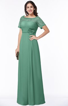 ColsBM Amanda Beryl Green Traditional Short Sleeve Zip up Chiffon Floor Length Flower Bridesmaid Dresses
