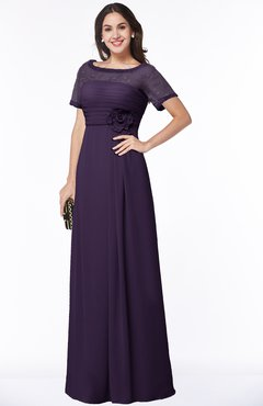 ColsBM Amanda Blackberry Cordial Traditional Short Sleeve Zip up Chiffon Floor Length Flower Bridesmaid Dresses