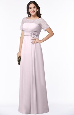 ColsBM Amanda Blush Traditional Short Sleeve Zip up Chiffon Floor Length Flower Bridesmaid Dresses