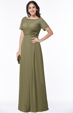 ColsBM Amanda Boa Traditional Short Sleeve Zip up Chiffon Floor Length Flower Bridesmaid Dresses
