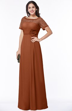 ColsBM Amanda Bombay Brown Traditional Short Sleeve Zip up Chiffon Floor Length Flower Bridesmaid Dresses