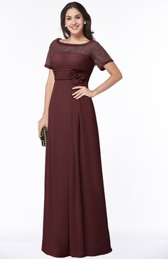 ColsBM Amanda Burgundy Traditional Short Sleeve Zip up Chiffon Floor Length Flower Bridesmaid Dresses