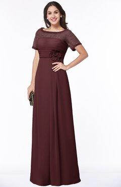 ColsBM Amanda Burgundy Traditional Short Sleeve Zip up Chiffon Floor Length Flower Bridesmaid Dresses