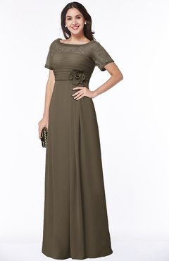 ColsBM Amanda Carafe Brown Traditional Short Sleeve Zip up Chiffon Floor Length Flower Bridesmaid Dresses