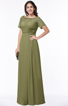 ColsBM Amanda Cedar Traditional Short Sleeve Zip up Chiffon Floor Length Flower Bridesmaid Dresses