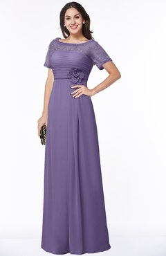 ColsBM Amanda Chalk Violet Traditional Short Sleeve Zip up Chiffon Floor Length Flower Bridesmaid Dresses