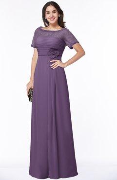 ColsBM Amanda Chinese Violet Traditional Short Sleeve Zip up Chiffon Floor Length Flower Bridesmaid Dresses