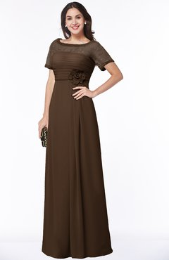 ColsBM Amanda Chocolate Brown Traditional Short Sleeve Zip up Chiffon Floor Length Flower Bridesmaid Dresses