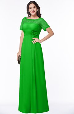 ColsBM Amanda Classic Green Traditional Short Sleeve Zip up Chiffon Floor Length Flower Bridesmaid Dresses