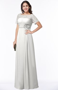 ColsBM Amanda Cloud White Traditional Short Sleeve Zip up Chiffon Floor Length Flower Bridesmaid Dresses