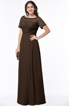 ColsBM Amanda Copper Traditional Short Sleeve Zip up Chiffon Floor Length Flower Bridesmaid Dresses