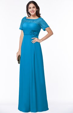 ColsBM Amanda Cornflower Blue Traditional Short Sleeve Zip up Chiffon Floor Length Flower Bridesmaid Dresses