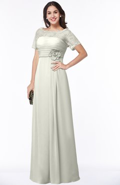 ColsBM Amanda Cream Traditional Short Sleeve Zip up Chiffon Floor Length Flower Bridesmaid Dresses