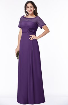 ColsBM Amanda Dark Purple Traditional Short Sleeve Zip up Chiffon Floor Length Flower Bridesmaid Dresses