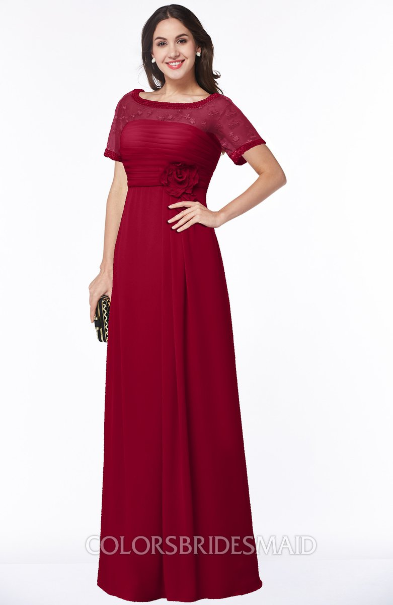 9b2784abbb6b ColsBM Amanda Dark Red Traditional Short Sleeve Zip up Chiffon Floor Length  Flower Bridesmaid Dresses