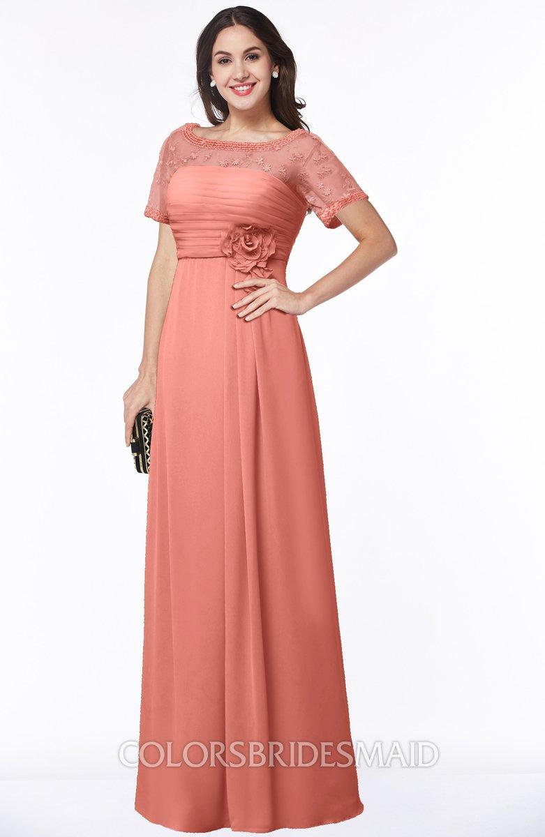 Colsbm Amanda Desert Flower Traditional Short Sleeve Zip Up Chiffon Floor Length Bridesmaid Dresses