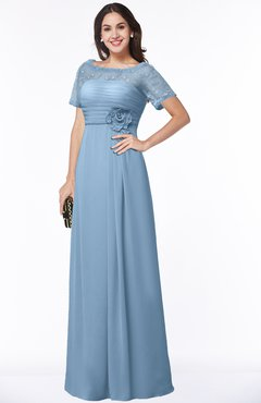ColsBM Amanda Dusty Blue Traditional Short Sleeve Zip up Chiffon Floor Length Flower Bridesmaid Dresses