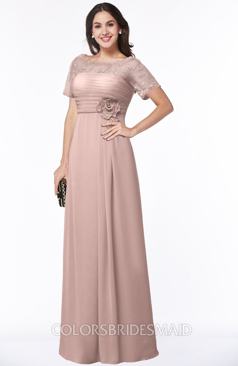 Colsbm Amanda Dusty Rose Traditional Short Sleeve Zip Up Chiffon Floor Length Flower Bridesmaid Dresses