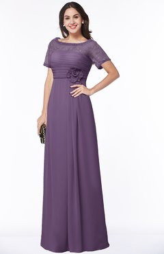 ColsBM Amanda Eggplant Traditional Short Sleeve Zip up Chiffon Floor Length Flower Bridesmaid Dresses