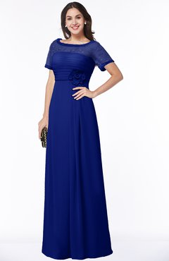 ColsBM Amanda Electric Blue Traditional Short Sleeve Zip up Chiffon Floor Length Flower Bridesmaid Dresses