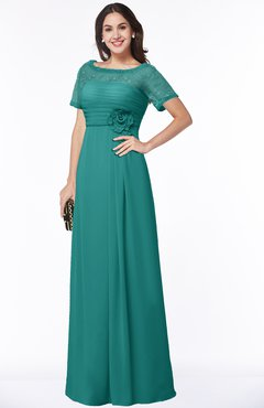 ColsBM Amanda Emerald Green Traditional Short Sleeve Zip up Chiffon Floor Length Flower Bridesmaid Dresses