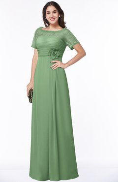 ColsBM Amanda Fair Green Traditional Short Sleeve Zip up Chiffon Floor Length Flower Bridesmaid Dresses