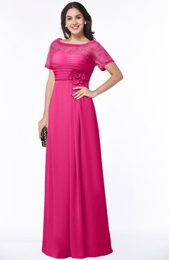 ColsBM Amanda Fandango Pink Traditional Short Sleeve Zip up Chiffon Floor Length Flower Bridesmaid Dresses