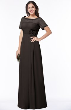 ColsBM Amanda Fudge Brown Traditional Short Sleeve Zip up Chiffon Floor Length Flower Bridesmaid Dresses