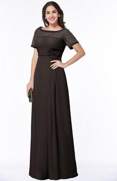 ColsBM Amanda Fudge Brown Traditional Short Sleeve Zip up Chiffon Floor Length Flower Bridesmaid Dresses