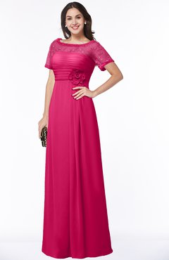 ColsBM Amanda Fuschia Traditional Short Sleeve Zip up Chiffon Floor Length Flower Bridesmaid Dresses