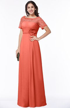 ColsBM Amanda Fusion Coral Traditional Short Sleeve Zip up Chiffon Floor Length Flower Bridesmaid Dresses